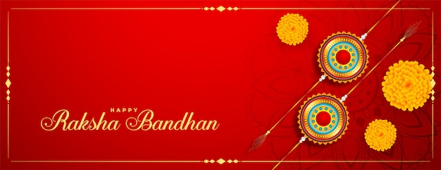 Raksha bandhan festival banner con rakhi e fiori di calendula Vettore gratuito
