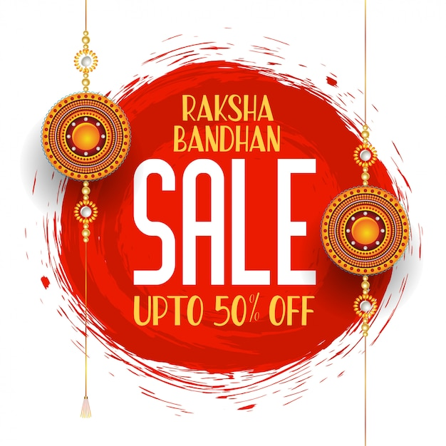 Raksha bandhan festival sale banner Free Vector