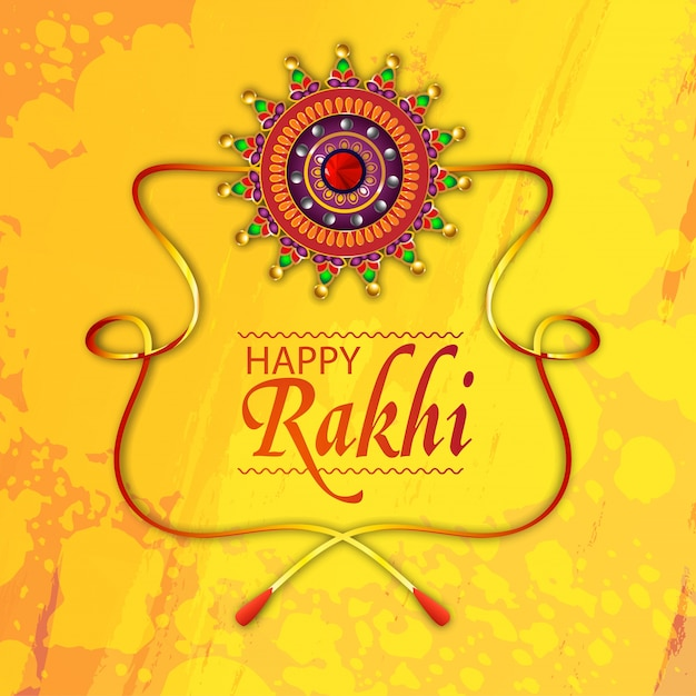Raksha bandhan greeting card design decorated with creative rakhi on raksha bandhan greeting card design decorated with creative rakhi on yellow background premium vector m4hsunfo