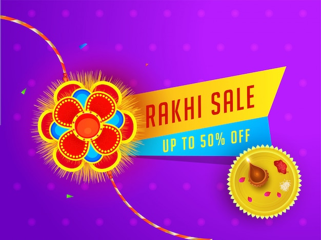 Raksha bandhan sale banner or poster design with 50% discount offer and worship plate on purple floral background. Premium Vector