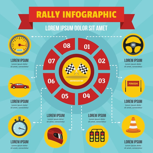 Rally infographic concept, flat style Premium Vector