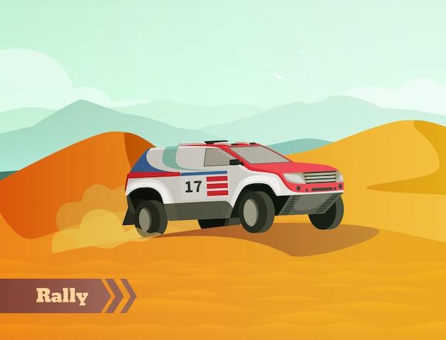 Rally racing flat фон Бесплатные векторы