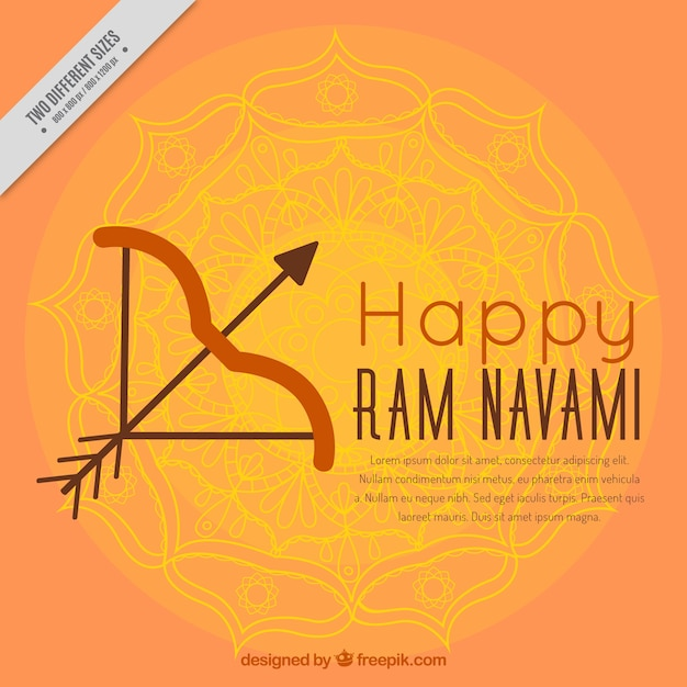 Ram navami background with arrow and bow Free Vector