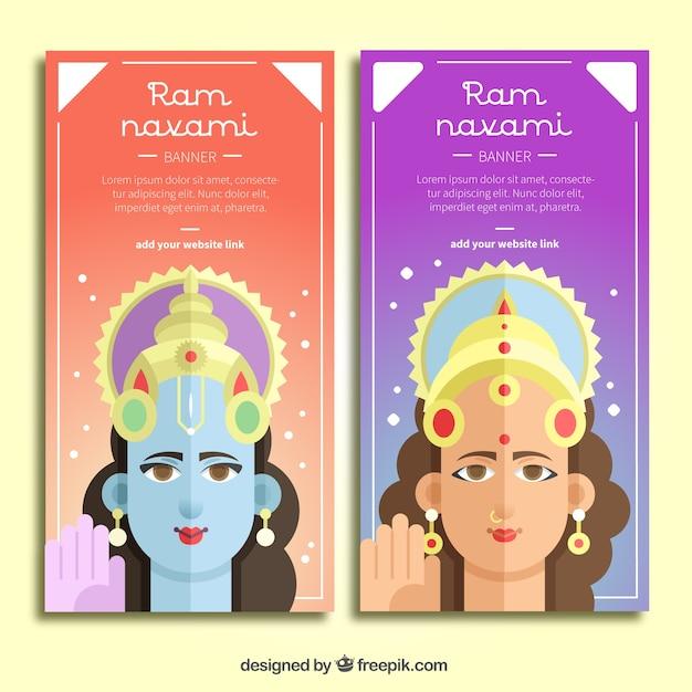 Ram navami banners in flat design