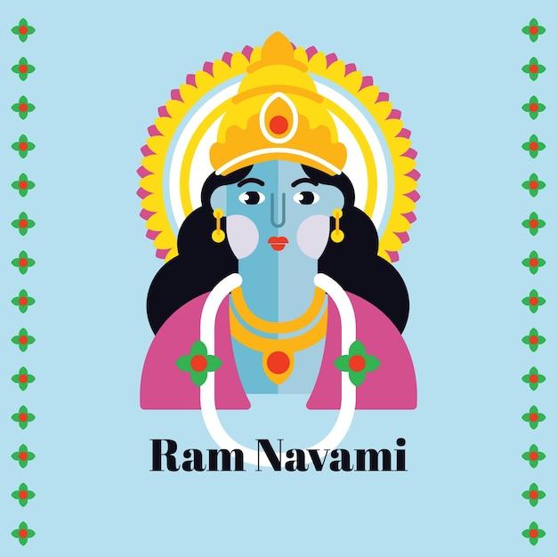 Ram navami in design piatto Vettore gratuito