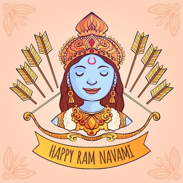Ram navami con fiocchi Vettore gratuito