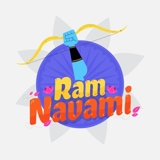 Ram navami with flowers and bow Free Vector