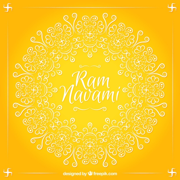 Ram Navami yellow background with ornamental\ shapes