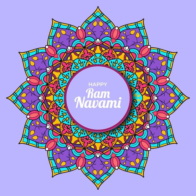 マンダラカラフルな孤立した紫色の背景を持つ幸せなramナバミ Premiumベクター