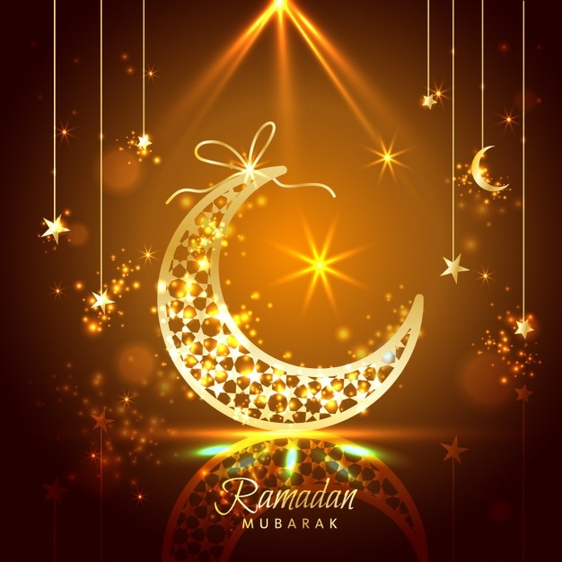 Ramadan Background Decorated With Moons And Stars Vector