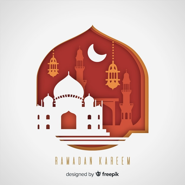 Ramadan background in paper style Free Vector