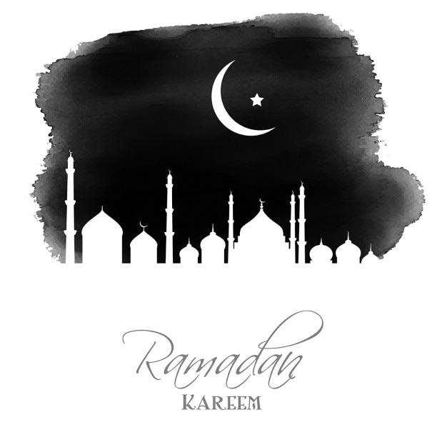 Ramadan Background With A Watercolor Mosque Free Vector