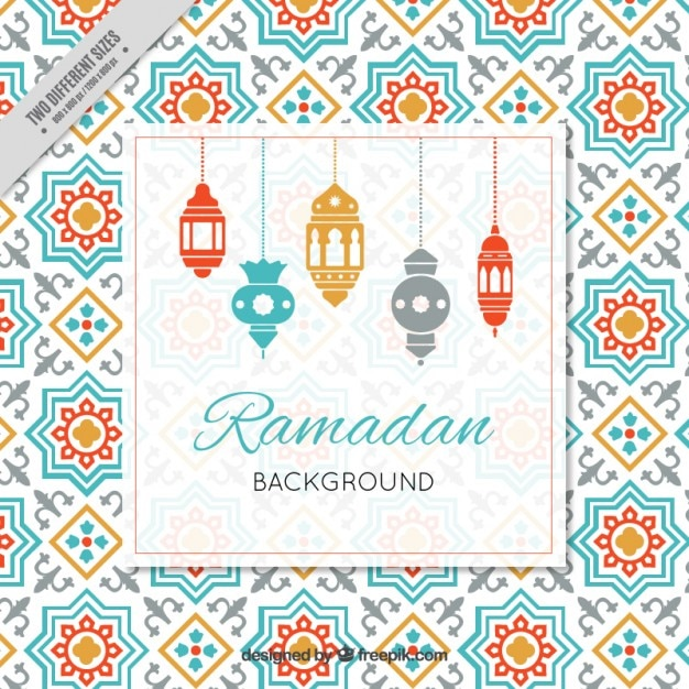 Ramadan Background With Arabic Lamps Vector Free Download