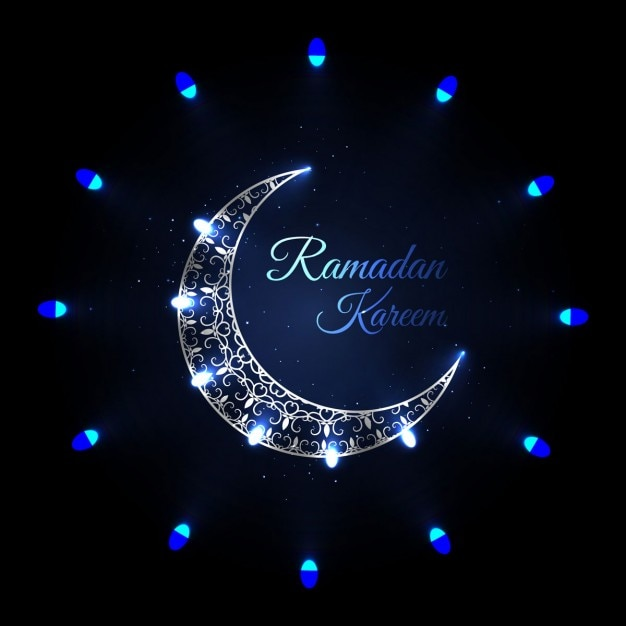 Ramadan background with blue moon Vector | Free Download