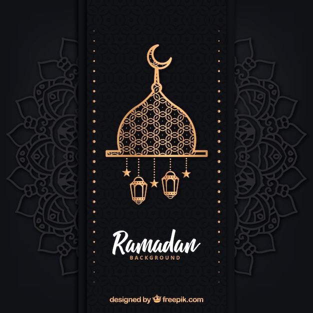 Ramadan background with different lamps Free Vector
