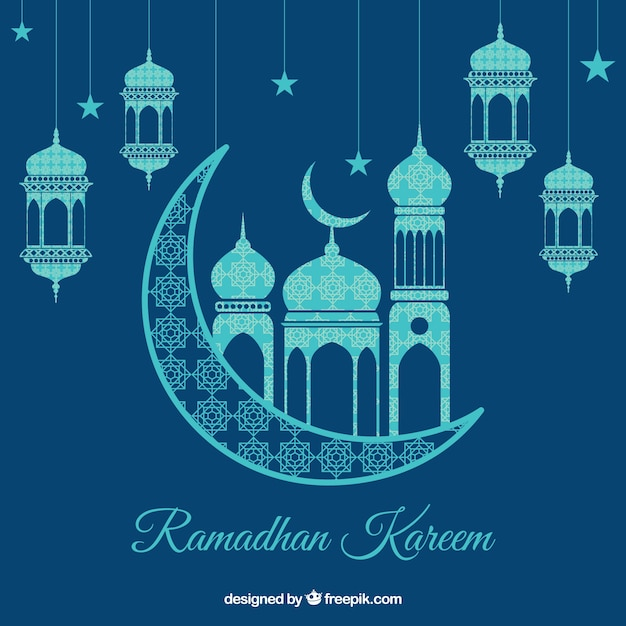 Ramadan background with lamps and ornaments Free Vector