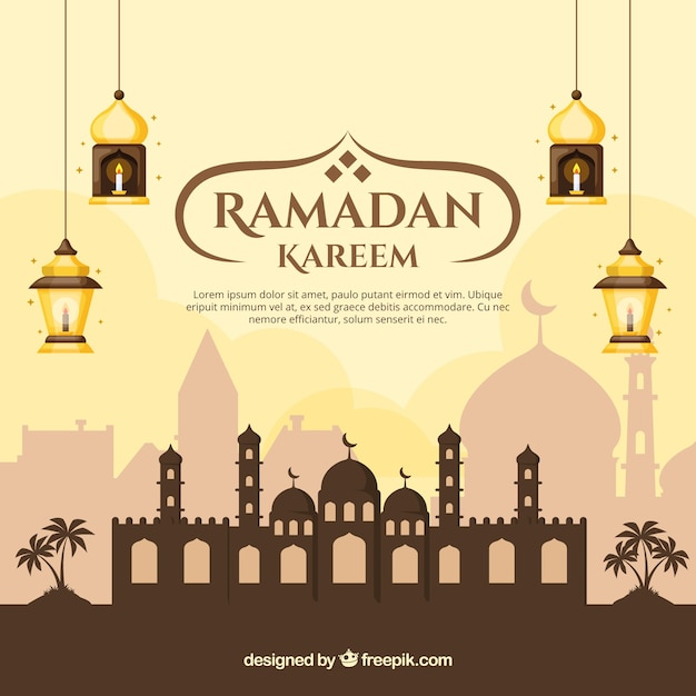 Ramadan background with mosque and lamps in flat style Free Vector