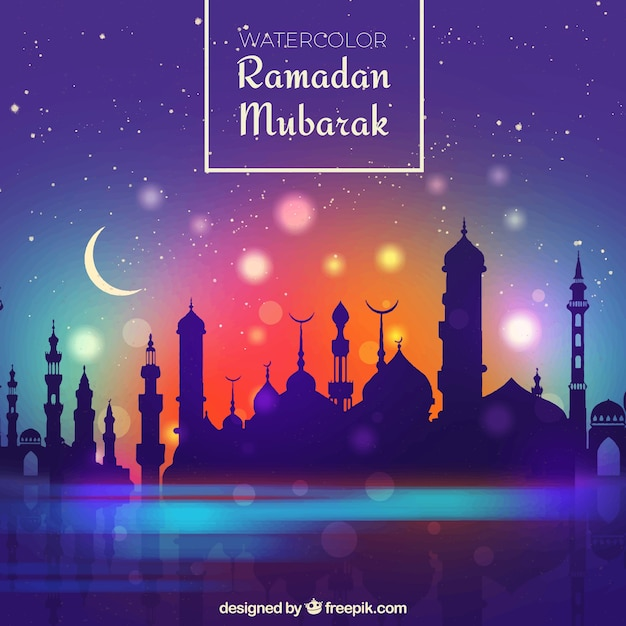 Ramadan background with mosque silhouette and gradient sky Free Vector
