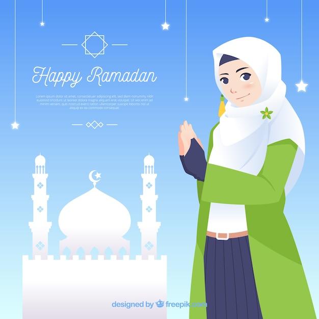 Ramadan background with people praying Free Vector