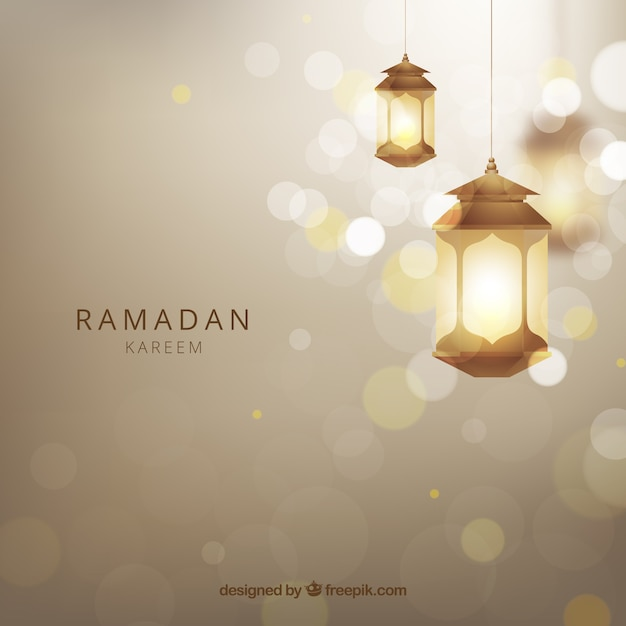 Ramadan background with realistic lamps Free Vector