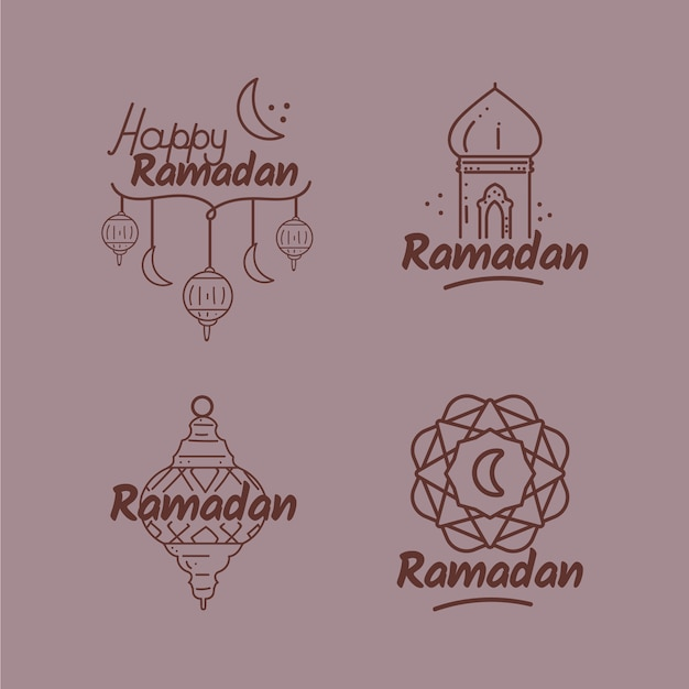 Рамадан коллекция значков Бесплатные векторы
