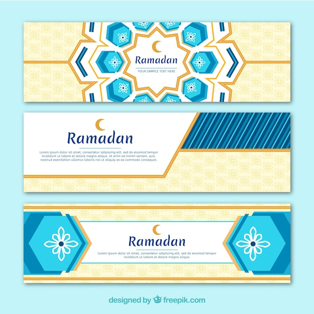 Ramadan banners collection with flat ornaments Free Vector