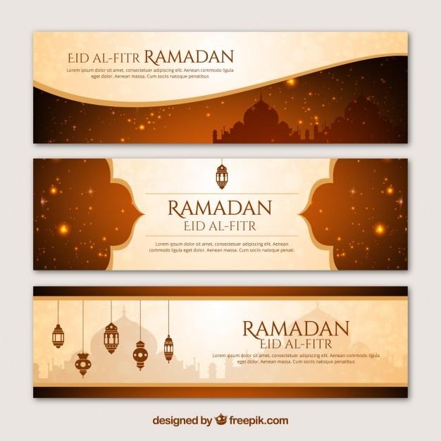Ramadan banners in elegant style Free Vector