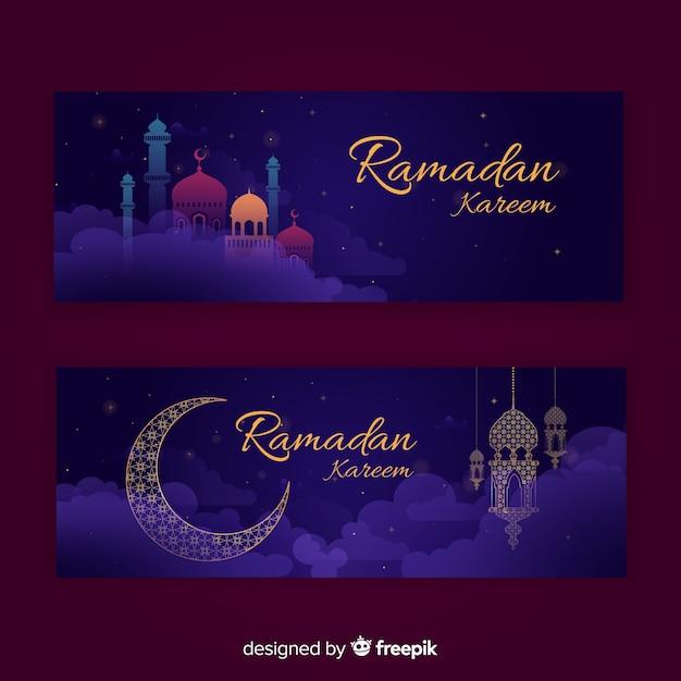 Ramadan banners Free Vector