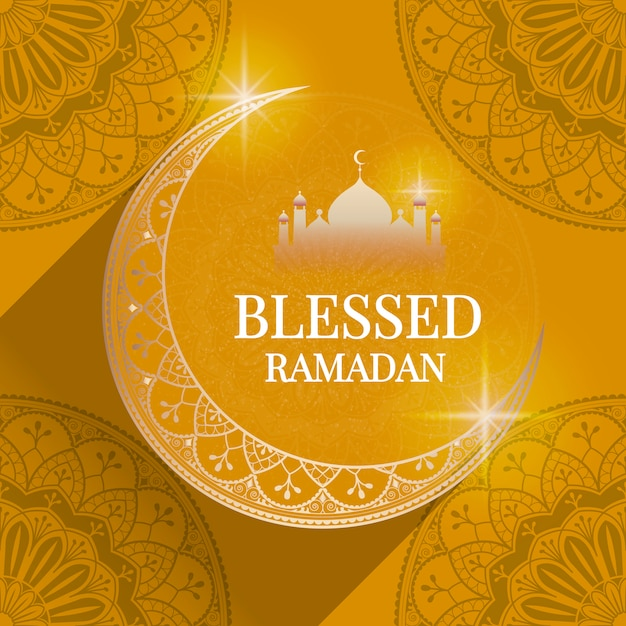 Ramadan card illustration Free Vector
