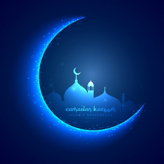Ramadan Card With Moon And A Mosque Vector Free Download