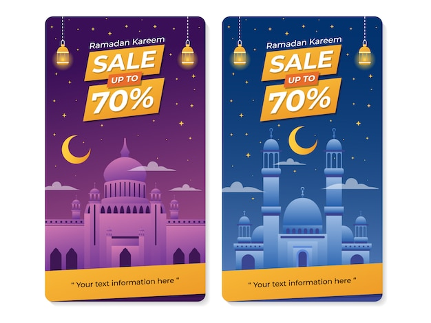 Ramadan celebration sale banner with mosque illustration Premium Vector