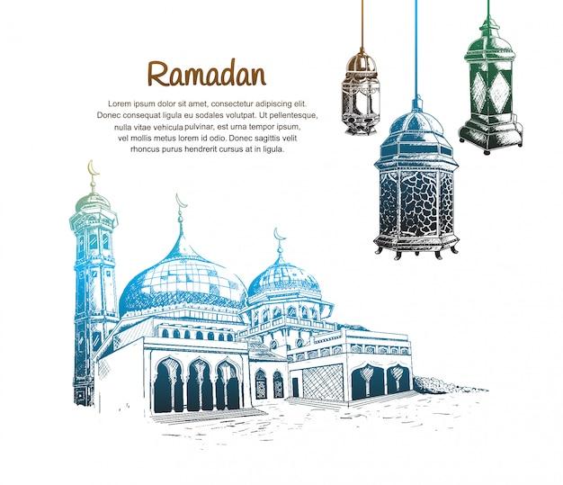 Ramadan design with lantern and mosque Premium Vector
