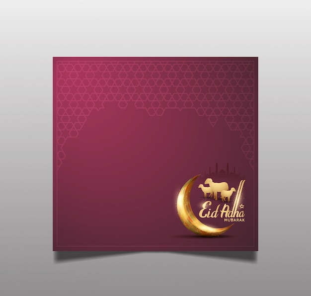 Ramadan eid al adha greeting card for holy ramadan celebration Premium Vector