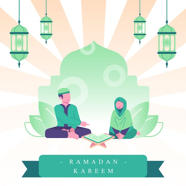 ラマダンフラットイラスト。カップルはアルコーランを読み、一緒に祈ります。ラマダンでの家族の活動 Premiumベクター