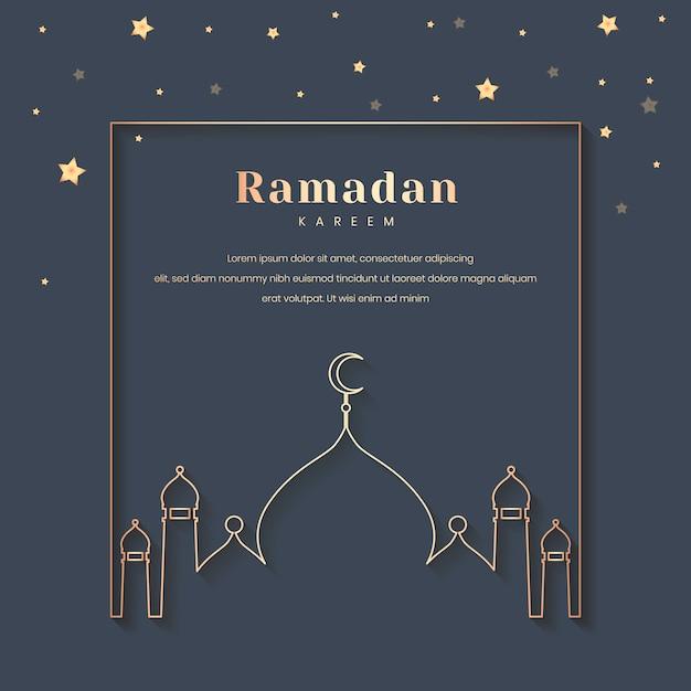 Ramadan framed card design Free Vector