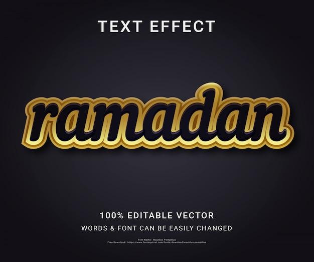Рамадан полный редактируемый текстовый эффект Premium векторы