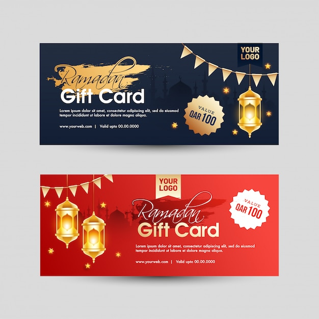 Ramadan gift card design with best offers in two color option. Premium Vector