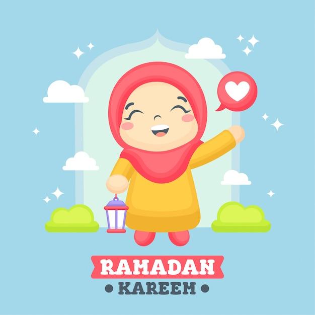 Ramadan greeting card with cute girl illustration Premium Vector