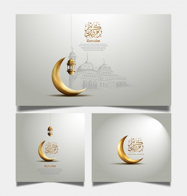 Ramadan greeting card with golden crescent moon and lantern Premium Vector