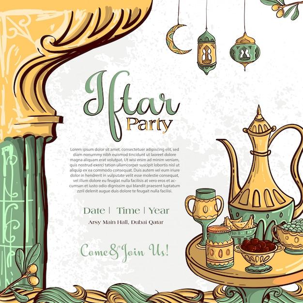 手でラマダンイフタールパーティーグリーティングカードは、白いグランジ背景に日付とイスラム料理を描画します。 無料ベクター