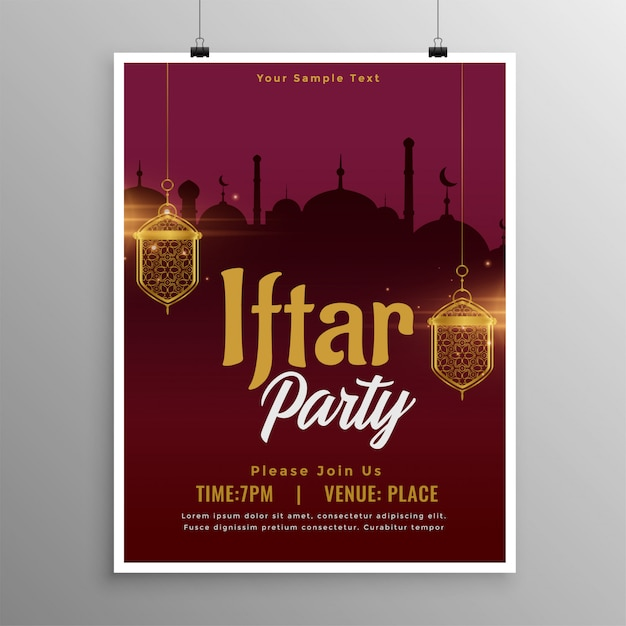 Ramadan iftar party invitation template design Free Vector