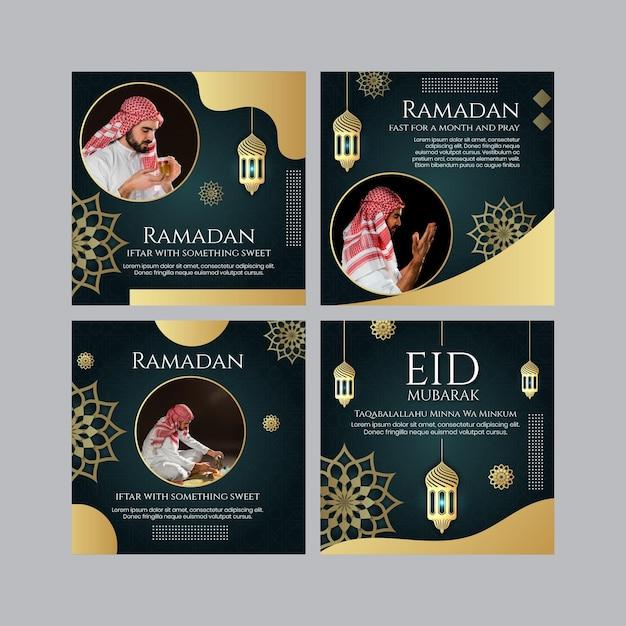 Рамадан посты в instagram Бесплатные векторы