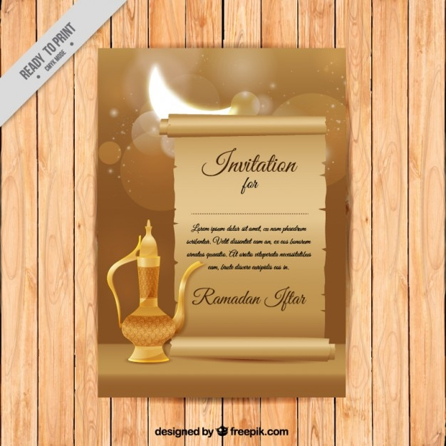 Ramadan invitation with teapot Free Vector