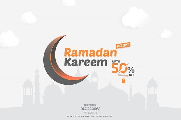 Ramadan kareem 50% sale banner Premium Vector
