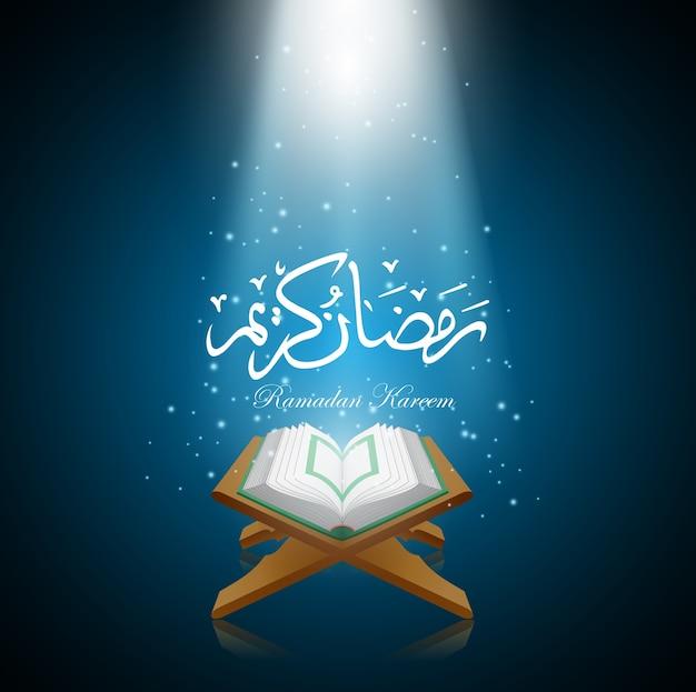 Векторные иллюстрации ramadan kareem с al quran. Premium векторы