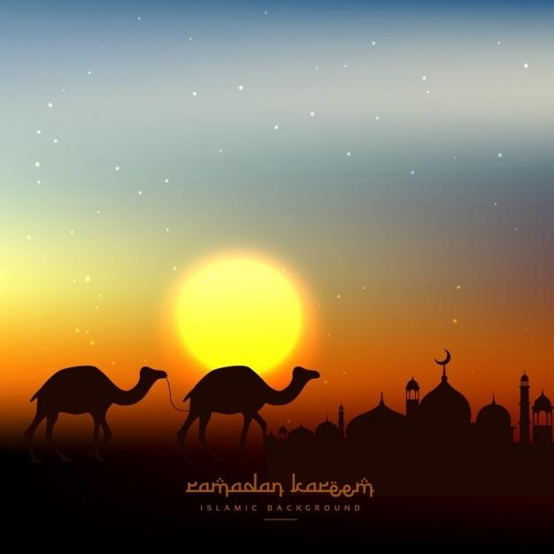 Ramadan kareem background in evening sky with sun Free Vector