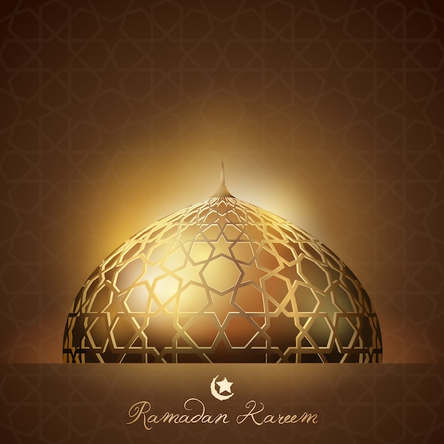 Ramadan kareem background glow light Premium Vector
