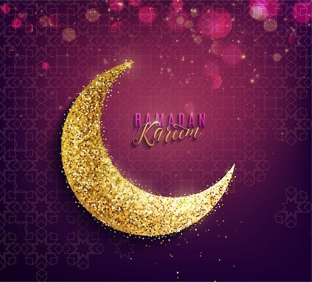Sfondo di ramadan kareem. falce di luna dorata, testo di auguri e effetti di luce. Vettore gratuito