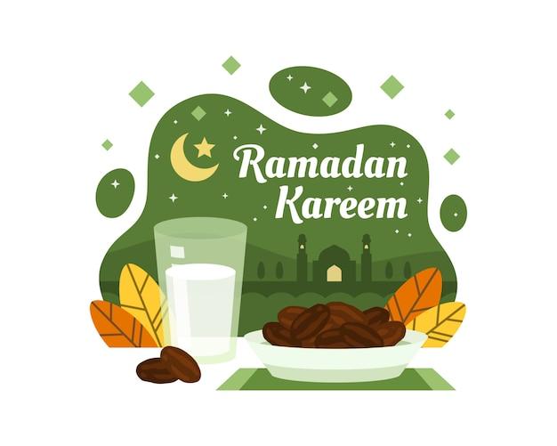 Ramadan kareem background with dates and milk illustration Premium Vector