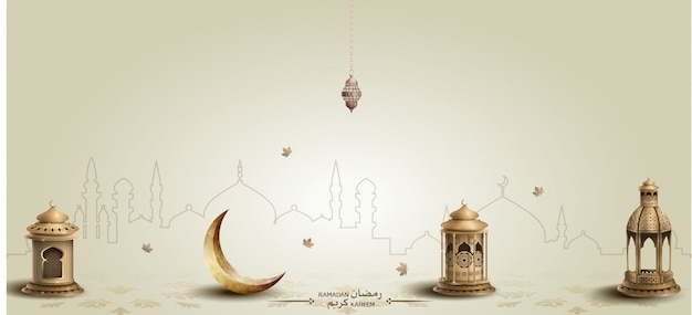 Ramadan kareem background with lanterns and crescent Premium Vector